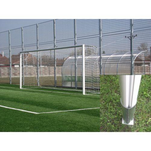 Focikapu hüvelyes, fehér porfestett alumínium, 10x12cm-es ovál profil, téglatestű focihálóhozl ( hüvelyekkel), tűzihorganyzott vasalattal, műanyag hálószemmel - cikkszám: 1325